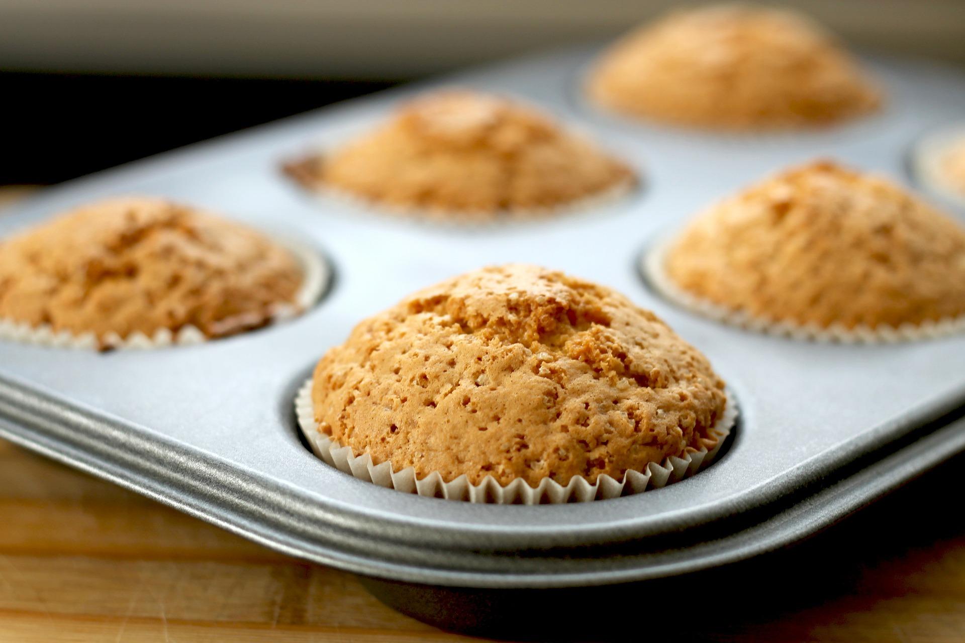 A pan of applesauce oatmeal muffins
