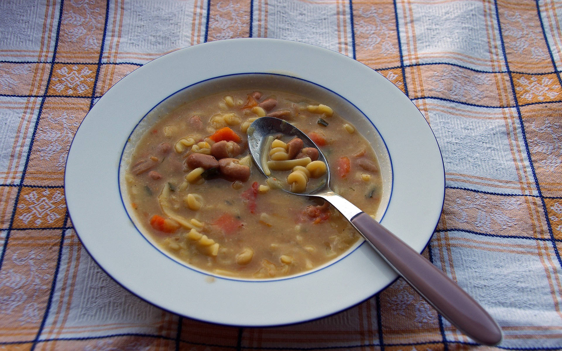 An Italian summer soup with beans and tomatos